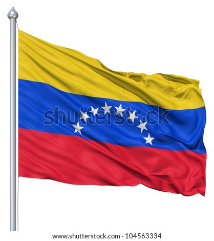 Flag of Venezuela with flagpole waving in the wind against white background
