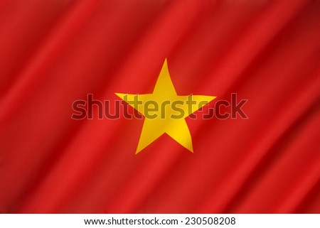 Flag of Vietnam - At the end of the Vietnam War in 1975, the flag of North Vietnam was adopted as the flag of the Socialist Republic of Vietnam. - stock photo