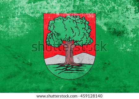 Flag of Walbrzych, Poland, with a vintage and old look - stock photo
