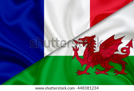 Flag of Wales and flag of France - stock photo