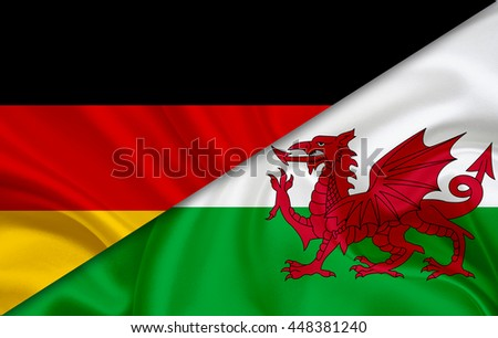 Flag of Wales and flag of Germany - stock photo