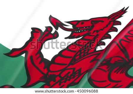 Flag of Wales close-up