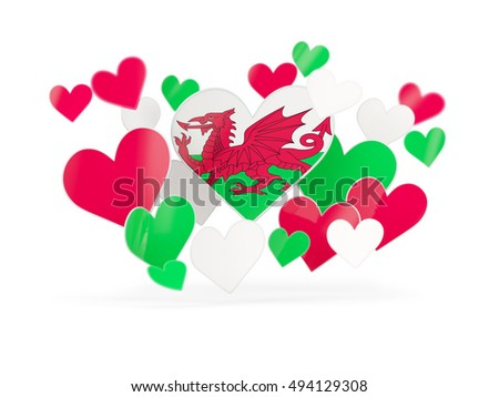 Flag of wales, heart shaped stickers on white. 3D illustration