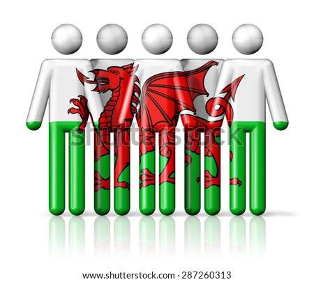 Flag of Wales on stick figure - national and social community symbol 3D icon