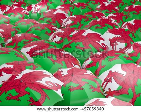 Flag of wales on umbrella. 3D illustration - stock photo