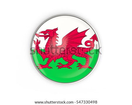 Flag of wales, round icon with metal frame isolated on white. 3D illustration