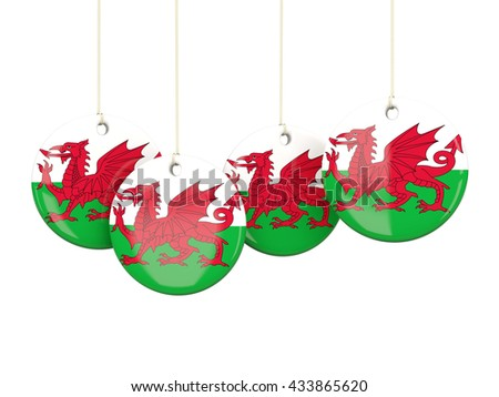 Flag of wales, round labels on white. 3D illustration - stock photo