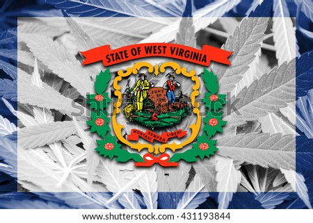 Flag of West Virginia State, on cannabis background - stock photo