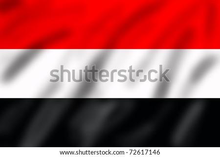 Flag of Yemen, 3d illustration - stock photo