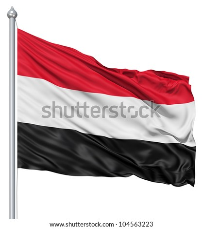 Flag of Yemen with flagpole waving in the wind against white background