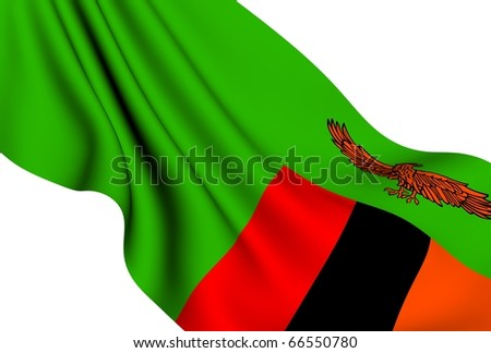 Flag of Zambia against white background. Close up. - stock photo