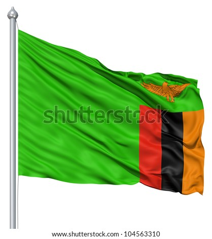 Flag of Zambia with flagpole waving in the wind against white background - stock photo
