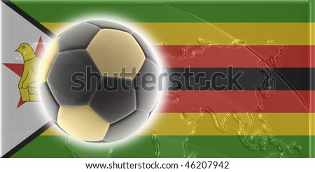 Flag of Zimbabwe, national country symbol illustration sports soccer football