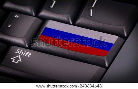 Flag on button keyboard, flag of Russia