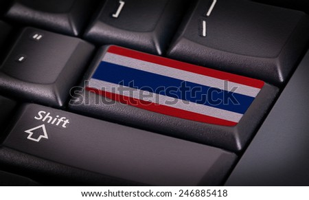 Flag on button keyboard, flag of Thailans