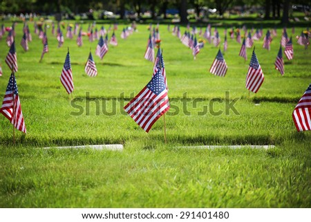flag on the graves of soldiers on veterans day in a cemetary - stock photo