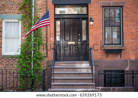 flag outside entrance red brick new stock photo image royalty