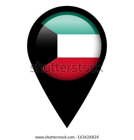 Flag pin illustration - Kuwait - stock photo