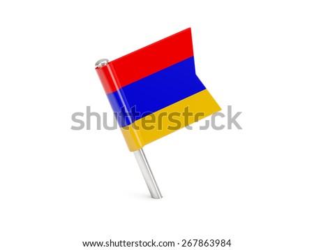 Flag pin of armenia isolated on white - stock photo