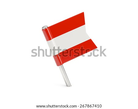 Flag pin of austria isolated on white - stock photo