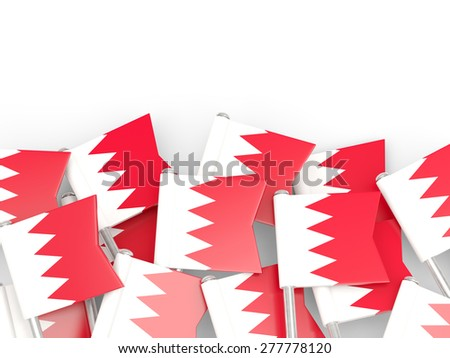 Flag pin of bahrain isolated on white - stock photo