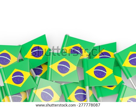 Flag pin of brazil isolated on white