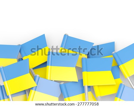 Flag pin of ukraine isolated on white - stock photo