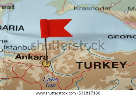 Flag pin on the map pointing Ankara, Turkey