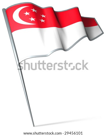 Flag pin - Singapore - stock photo