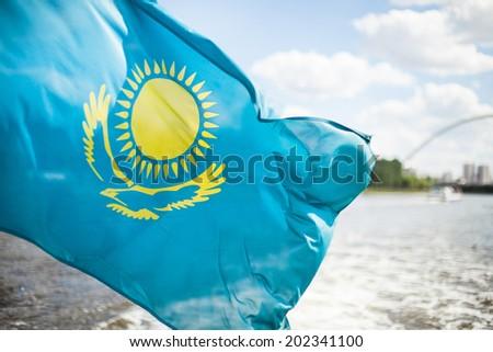 Flag Republic of Kazakhstan - stock photo