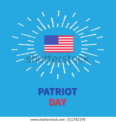 Flag shining effect Patriot day Blue background Card Flat design