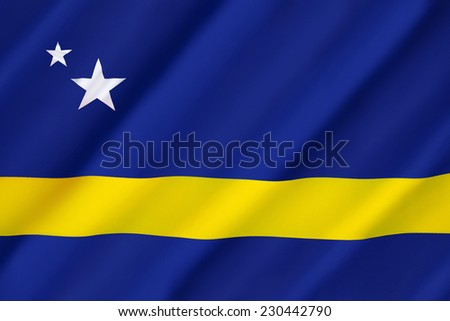 Flag the Country of Curacao as well as the island area within the Netherlands Antilles from 1984 until its dissolution in 2010. Curacao is now a constituent country of the Kingdom of the Netherlands.  - stock photo