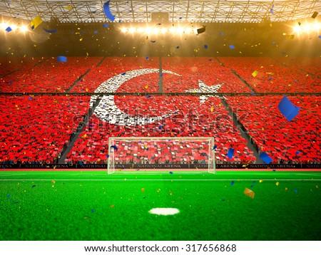Flag Turkey of fans. Evening stadium arena Yellow - stock photo