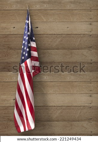 flag usa hanging on wooden wall - stock photo