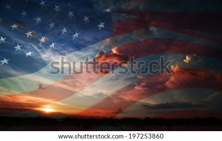 flag usa on the background of sunrise - stock photo