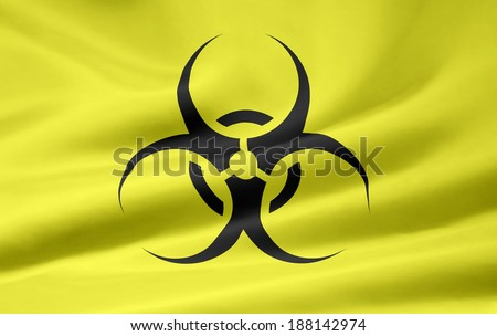 Flag with biohazard sign - stock photo
