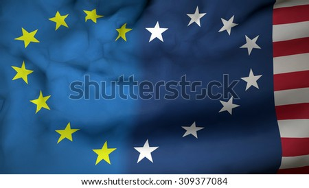 Flag with Eu and Usa flag with stars making heart shape. Friendship and partnership between Eu and United States of America. - stock photo