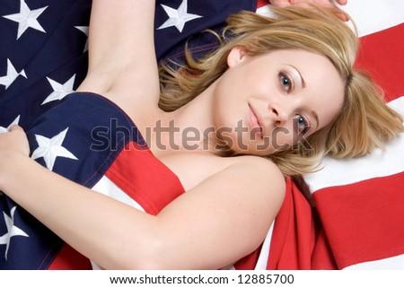 Flag Woman - stock photo