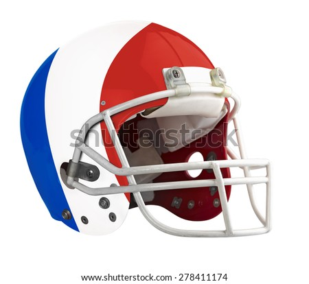 Flagged France American football helmet isolated on a white background with detailed clipping path.