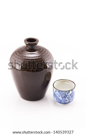 flagon and liquor cup,shoot in the white background.