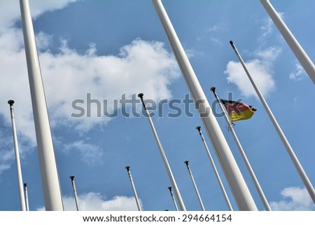 flagpoles with German flag at the international Congress Center in Berlin