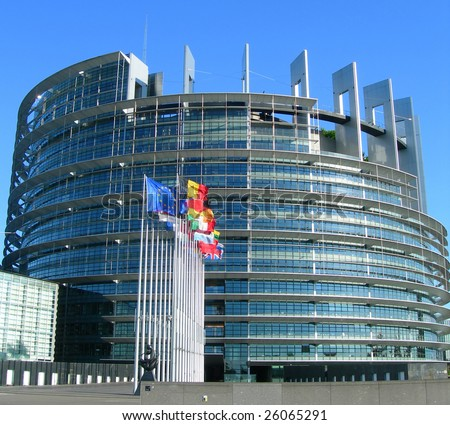 Flags aligned next to the European Parliament building, in Strasbourg, France - stock photo