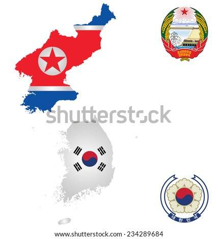Flags and national emblems of the North and South Korea overlaid on detailed outline map isolated on white background  - stock photo
