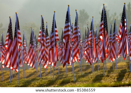 Flags as part of the healing fields memorial for 9/11/2001 in Grand Rapids Michigan. Each flag was designed to represent a person who died in the terrorist attacks on 9/11/2001. - stock photo