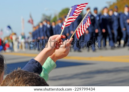 Flags at Veteran's Day Parade - stock photo
