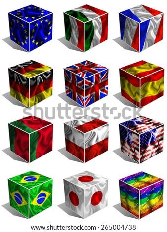 Flags Cubes 3d - stock photo