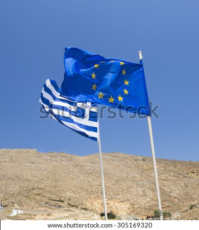 flags Europe Greece - stock photo