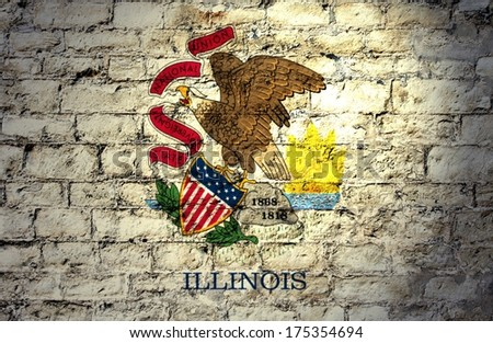 Flags from the states of the  USA ; the flag of Illinois  - stock photo