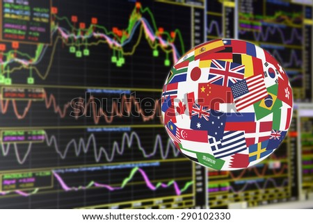 Flags globe over the display of daily stock market charts of financial instruments for technical analysis including price, momentum, MACD and volume analysis. Global stock market investment concept. - stock photo