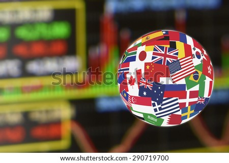 Flags globe over the display of daily stock market charts of financial instruments for technical analysis including volume and stochastic momentum analysis. Global stock market investment concept. - stock photo